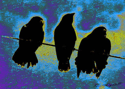 Mixed Media - Three Crows by YoMamaBird Rhonda