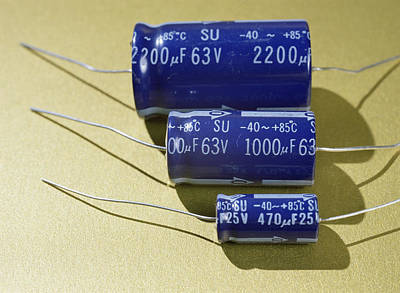 Electrolytic Photograph - Three Electrolytic Capacitors by Andrew Lambert Photography