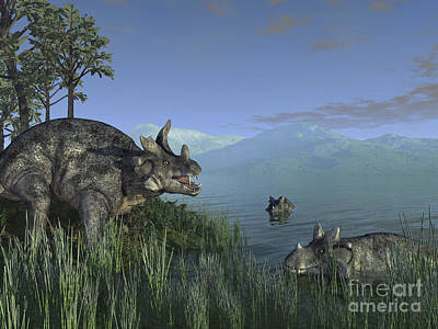 Prehistoric Digital Art - Three Estemmenosuchus Mirabilis Face by Walter Myers