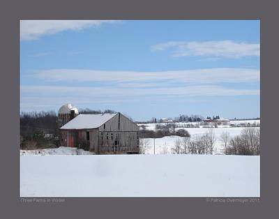 Three Farms In Winter Art Print by Patricia Overmoyer