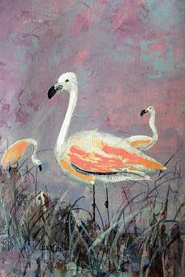 Painting - Three Flamingos by Gary Partin