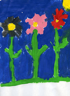 Painting - Three Flowers by Bella