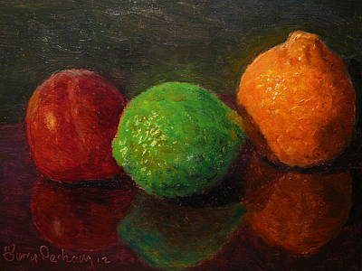 Painting - Three Fruit by Terry Perham
