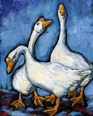 Geese Painting - Three Geese A Threatenin' by Dottie Dracos