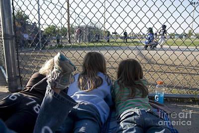 Three Girls Watching Ball Game Behind Home Plate Art Print by Christopher Purcell