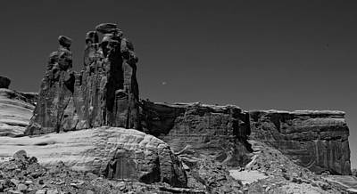 Gossip Photograph - Three Gossips Moon Setting Arches National Park by Scott McGuire