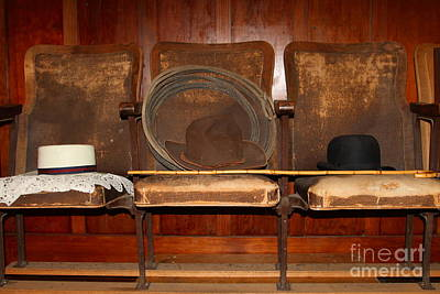 Three Hats A Lasso And A Cane At The Old Movie Theater . 7d12726 Art Print by Wingsdomain Art and Photography