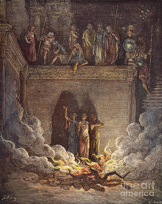 Drawing - Three Hebrews In Furnace by Gustave Dore