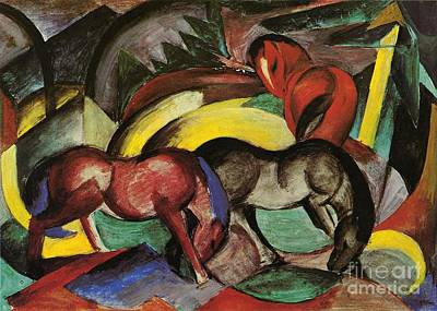 Franz Marc Painting - Three Horses by Franz Marc