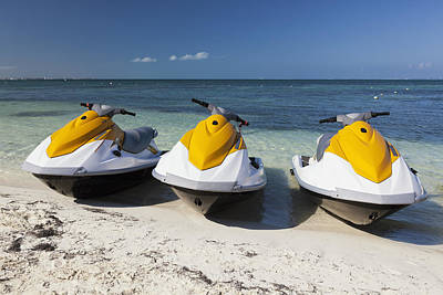 Three Jet Skis On The Beach At Cancun Art Print by Bryan Mullennix