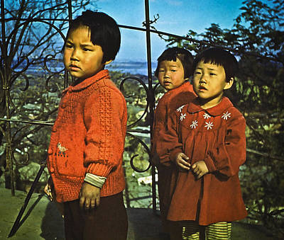 Photograph - Three Kids In Red - 1955 by Dale Stillman