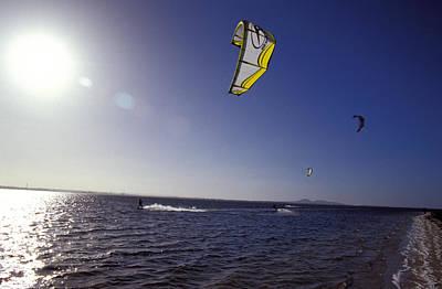 Three Kite Surfers On A Windy Summer Art Print by Jason Edwards