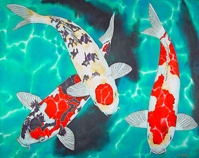 Three Koi Art Print by Daniel Jean-Baptiste