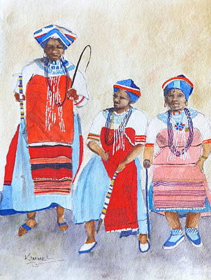 Painting - Three Ladies Of The Tonga Tribe by Harold Kimmel