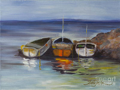 Painting - Three Lonely Boats by Pati Pelz