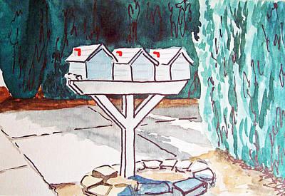 Three Mailboxes Sketchbook Project Down My Street Art Print by Irina Sztukowski
