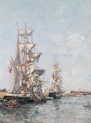 89 Painting - Three-masted Boats At The Quay In Deauville Harbour by Eugene Louis Boudin