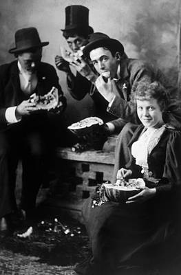 Three Men And A Woman Eating Art Print by Everett