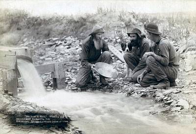 Three Men, With Dog, Panning For Gold Art Print by Everett