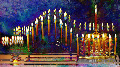 Chanukah Digital Art - Three Menorahs by Barbara Berney