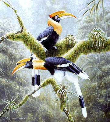 Hornbill Painting - Three by Michael Oberhofer