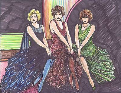 Evening Gown Drawing - Three Movie Ladies by Mel Thompson