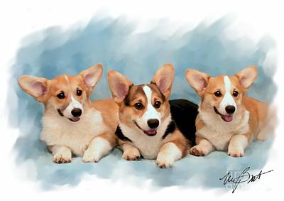Three Musketeers Corgis Art Print by Maxine Bochnia