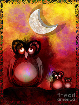 Digital Art - Three Owls by J Kinion