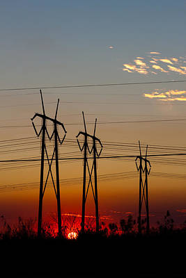 Photograph - Three Power Towers At Sundown by Ed Gleichman