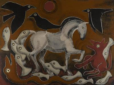 Celtic Art Painting - Three Ravens by Sophy White