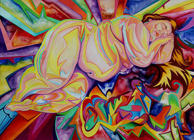 Colored Pencil Abstract Mixed Media - Three Reclining Nudes by Andrew Chambers