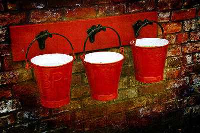 Hanging Baskets Photograph - Three Red Buckets by Svetlana Sewell
