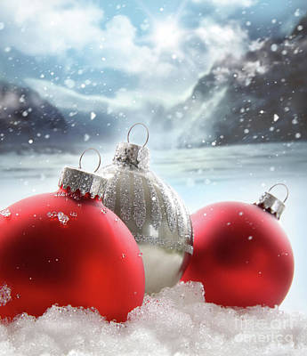 Three Red Christmas Balls In The Snow Art Print by Sandra Cunningham
