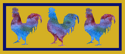 Folk Art Digital Art - Three Roosters by Jenny Armitage
