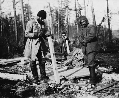 Three Russian Convicts Building A Camp Art Print