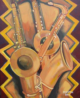 Painting - Three Saxophones by John Keaton
