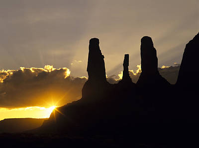 Four Sisters Photograph - Three Sisters Butte Rock Formation by Ralph Lee Hopkins