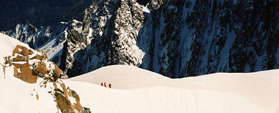 Photograph - Three Skiers At Chamonix by C Sitton