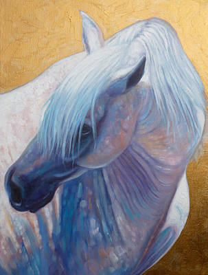Equine Painting - Three Stallions Two Of Three by Gill Bustamante