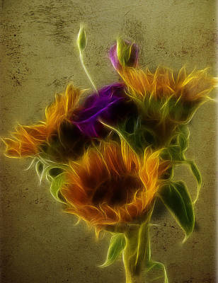 Photograph - Three Sunflowers And A Lisianthus by Fiona Messenger