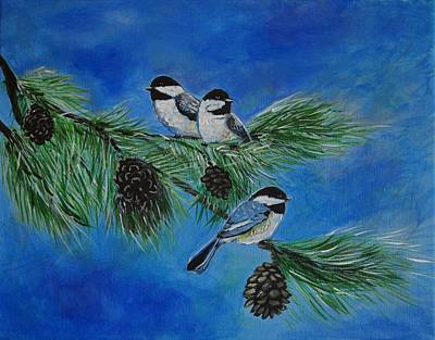 Painting - Three Sweet Chickadees by Leslie Allen