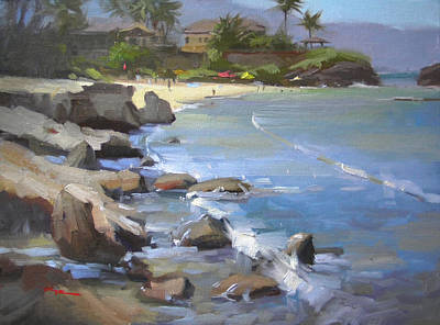 Haleiwa Painting - Three Tables Beach by Richard Robinson