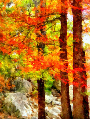 Fall Foliage Mixed Media - Three Trees by Angelina Vick