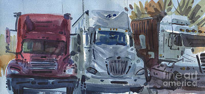 Trailer Painting - Three Trucks by Donald Maier
