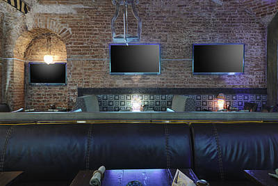 Three Tv Screens On Brick Wall Art Print