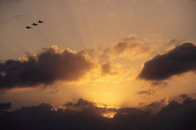 Natural Forces Photograph - Three U.s. Navy F-185 Jets  Silhouetted by Medford Taylor