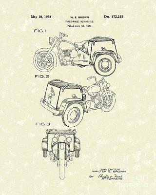 Three Wheel Motorcycle 1954 Patent Art  Art Print by Prior Art Design