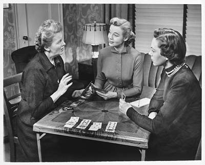 Group Of Women Talking Photograph - Three Women Playing Cards At Home, (b&w) by George Marks