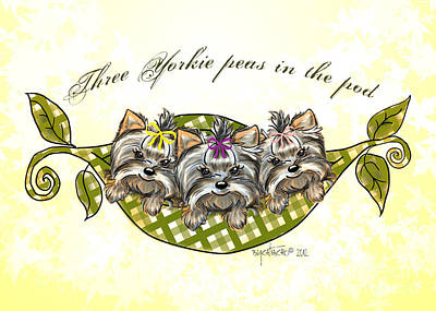 Mixed Media - Three Yorkie Peas In The Pod by Catia Cho