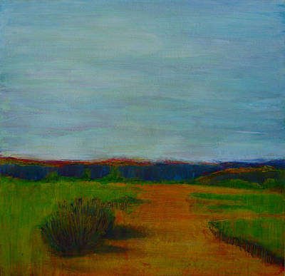 Abstract Realist Landscape Painting - Through The Rolling Fields by Sandrine Pelissier